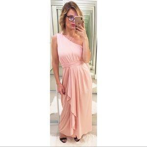 ASOS One Shoulder Slinky Pink Maxi Dress